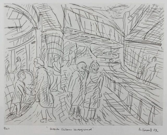 Outside Kilburn Underground Station 1983 - Leon Kossoff